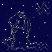 Zodiac sign Aquarius on the starry sky