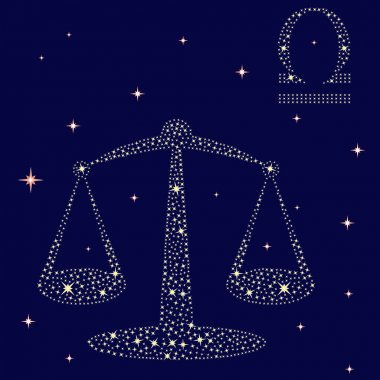 Zodiac sign Libra on a background of the starry sky, vector illustration stock vector
