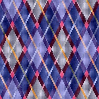 Rhombic tartan blue and pink fabric seamless texture