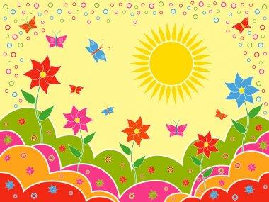 Sunny summer landscape as wallpaper