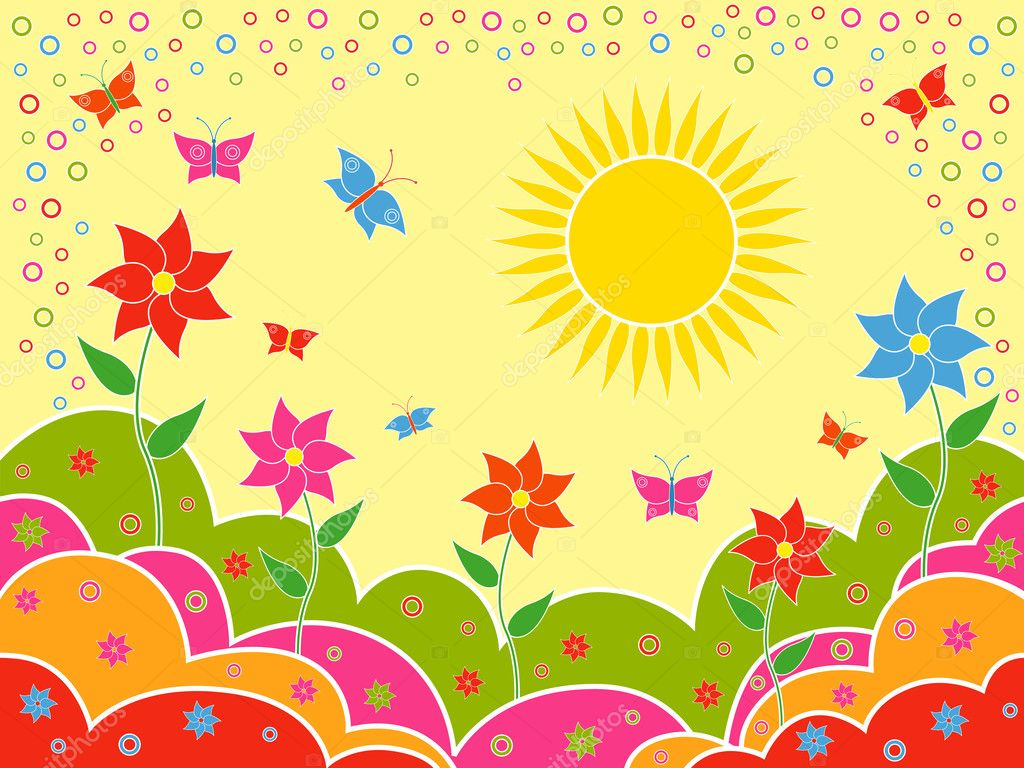 Sunny summer landscape as wallpaper