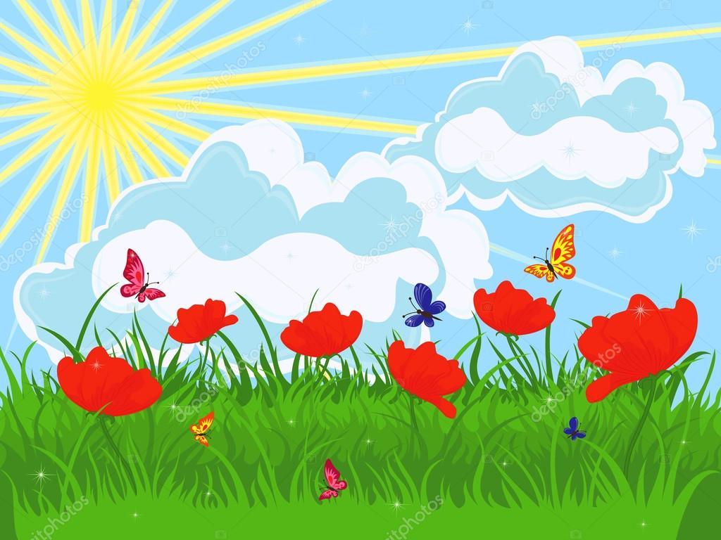 графику поляна цветов рисунок для рэтнт фотошопе, добавь маску