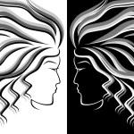 красивые девушки контур с проточной волос — Векторное ... Силуэт Женщины В Платье Вектор