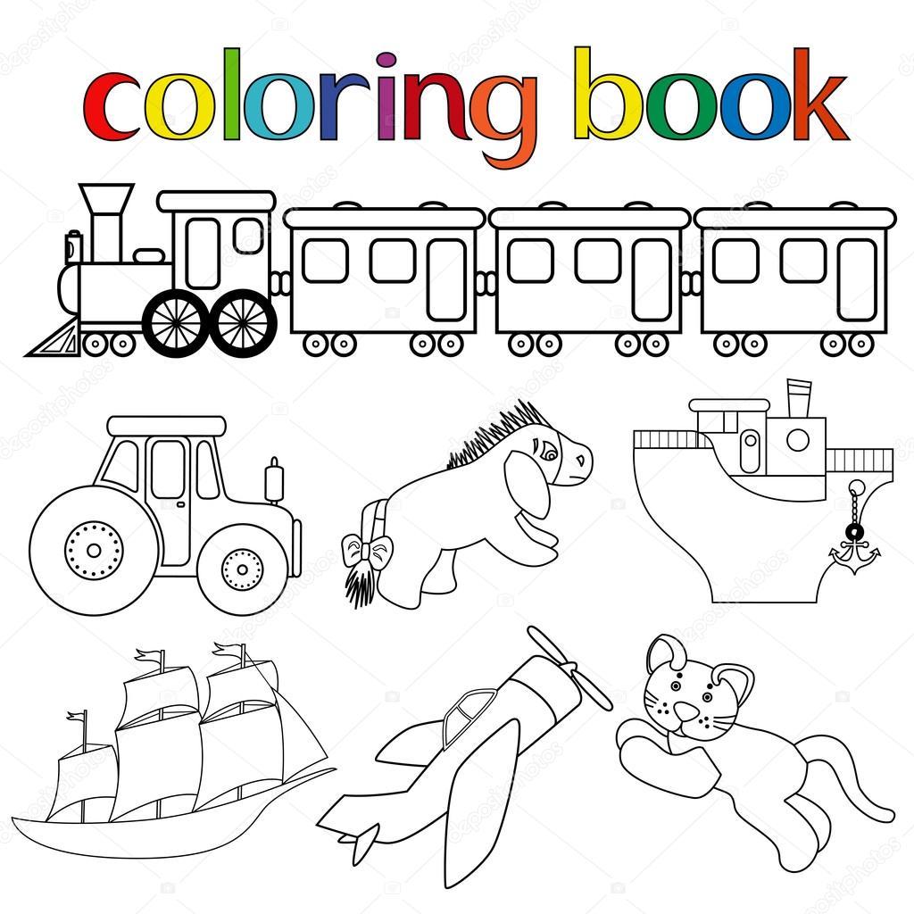 conjunto de diferentes juguetes para colorear libro — Archivo ...
