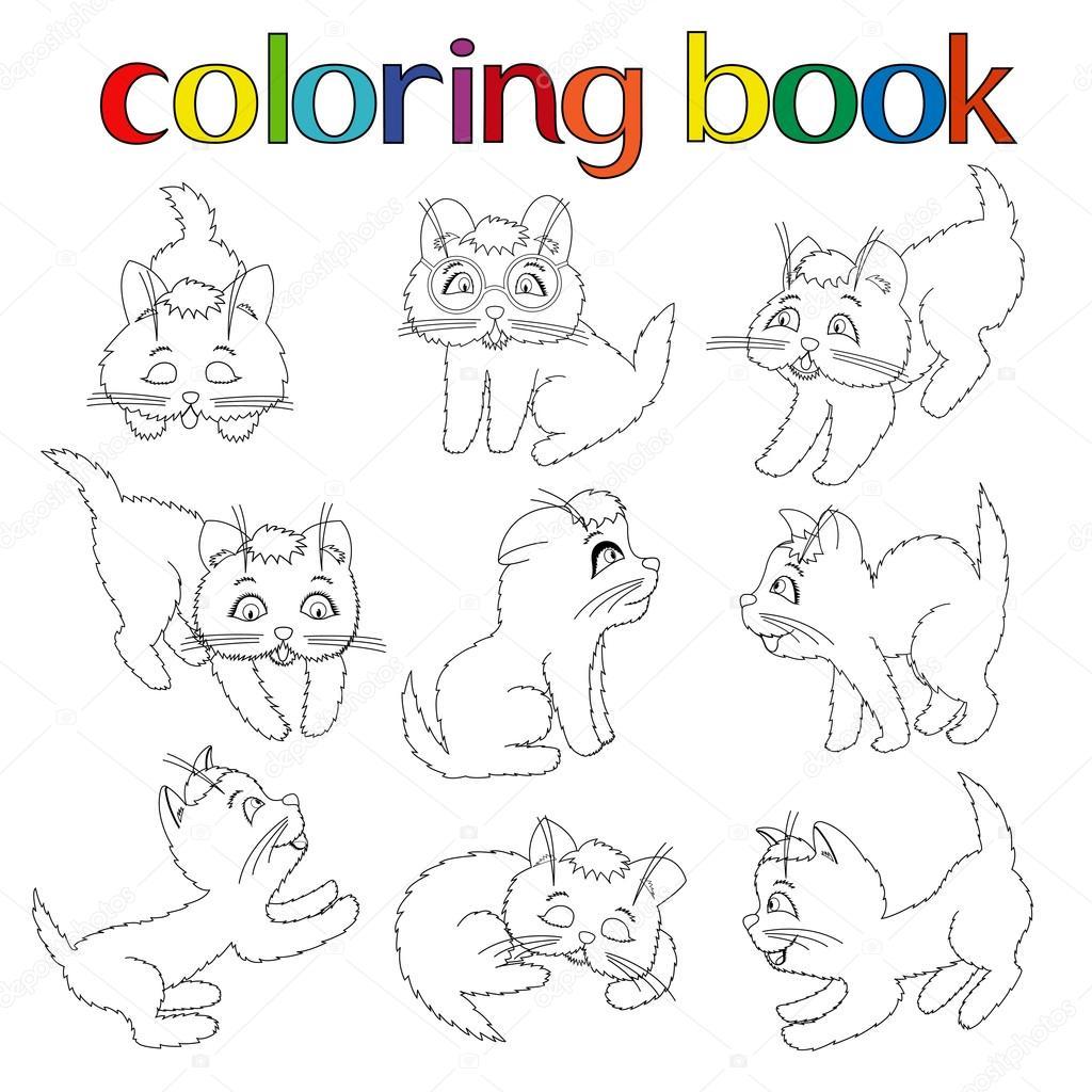 conjunto de nueve Juguetones gatitos para colorear libro — Archivo ...