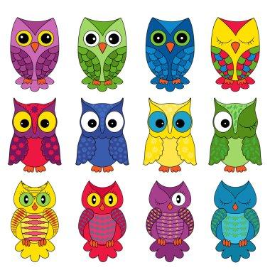 Set of twelve owls