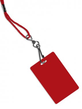 Blank red badge with copy space (with clipping path)