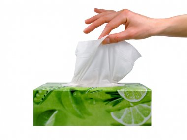 Female hand taking a tissue from a box