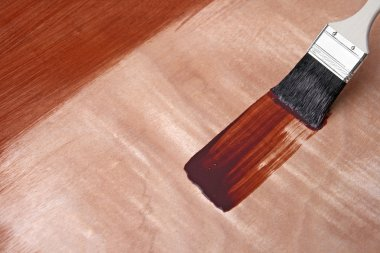 Fresh paint on wooden surface