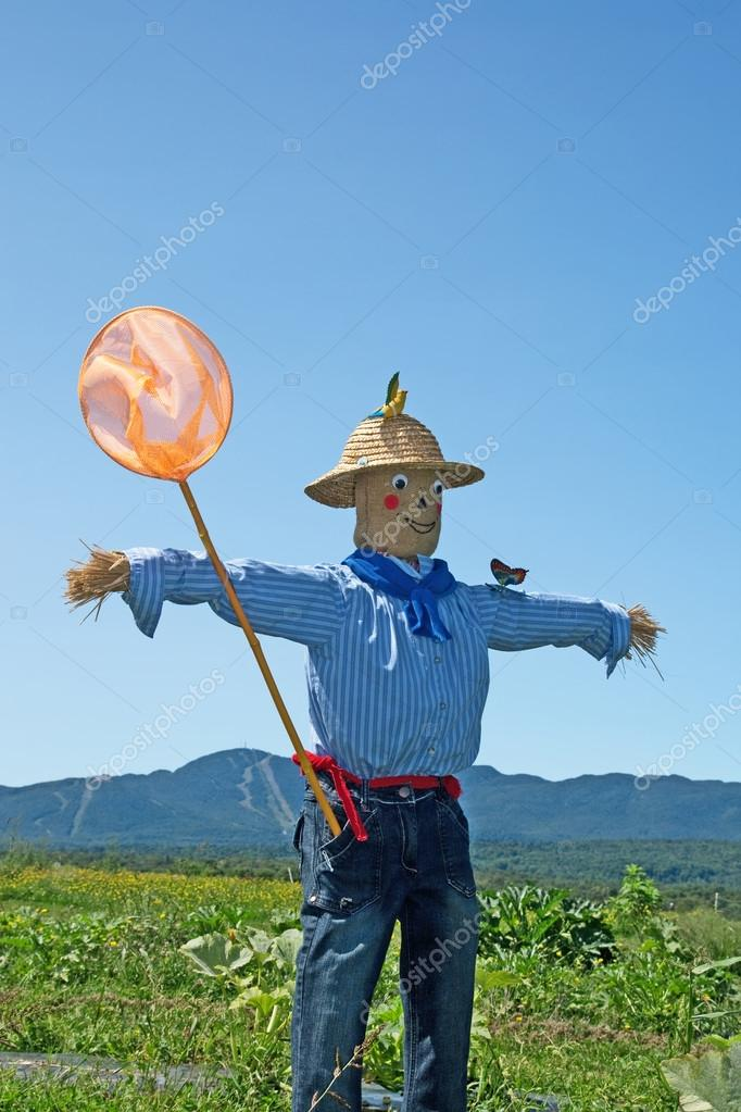 Scarecrow with butterfly net