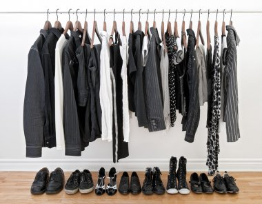 Black and white clothes for man and woman