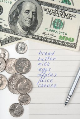 Shopping list, money and pen