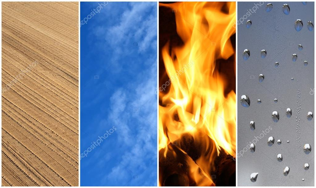 Four elements. Earth, air, fire, water.