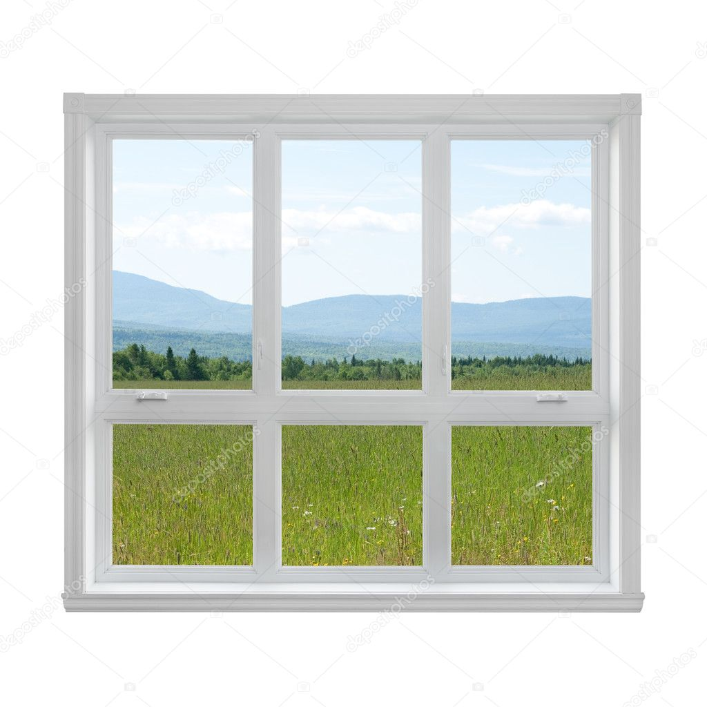 Summer landscape seen through the window