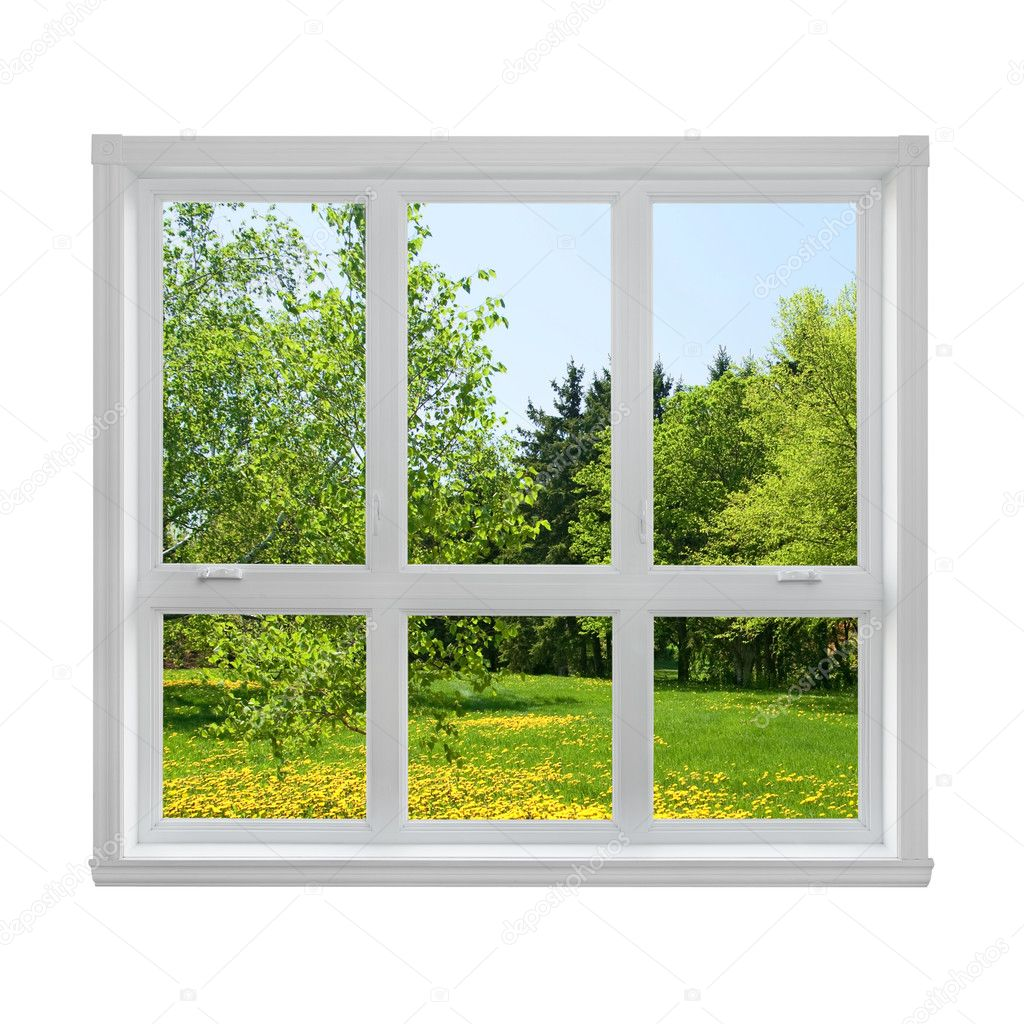 Spring landscape seen through the window