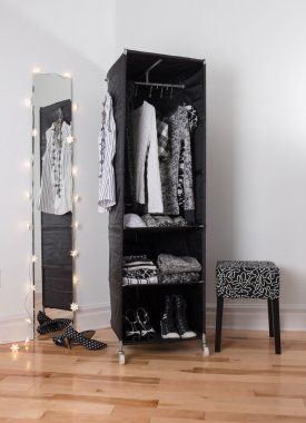 Mirror and mobile wardrobe with clothing