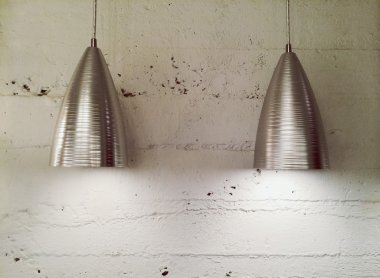Two modern metal lamps
