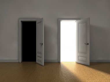 Bright light coming from one door and darkness from the other stock vector