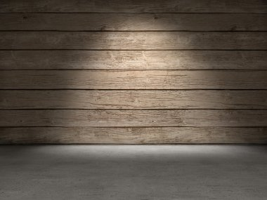 Wood wall concrete floor