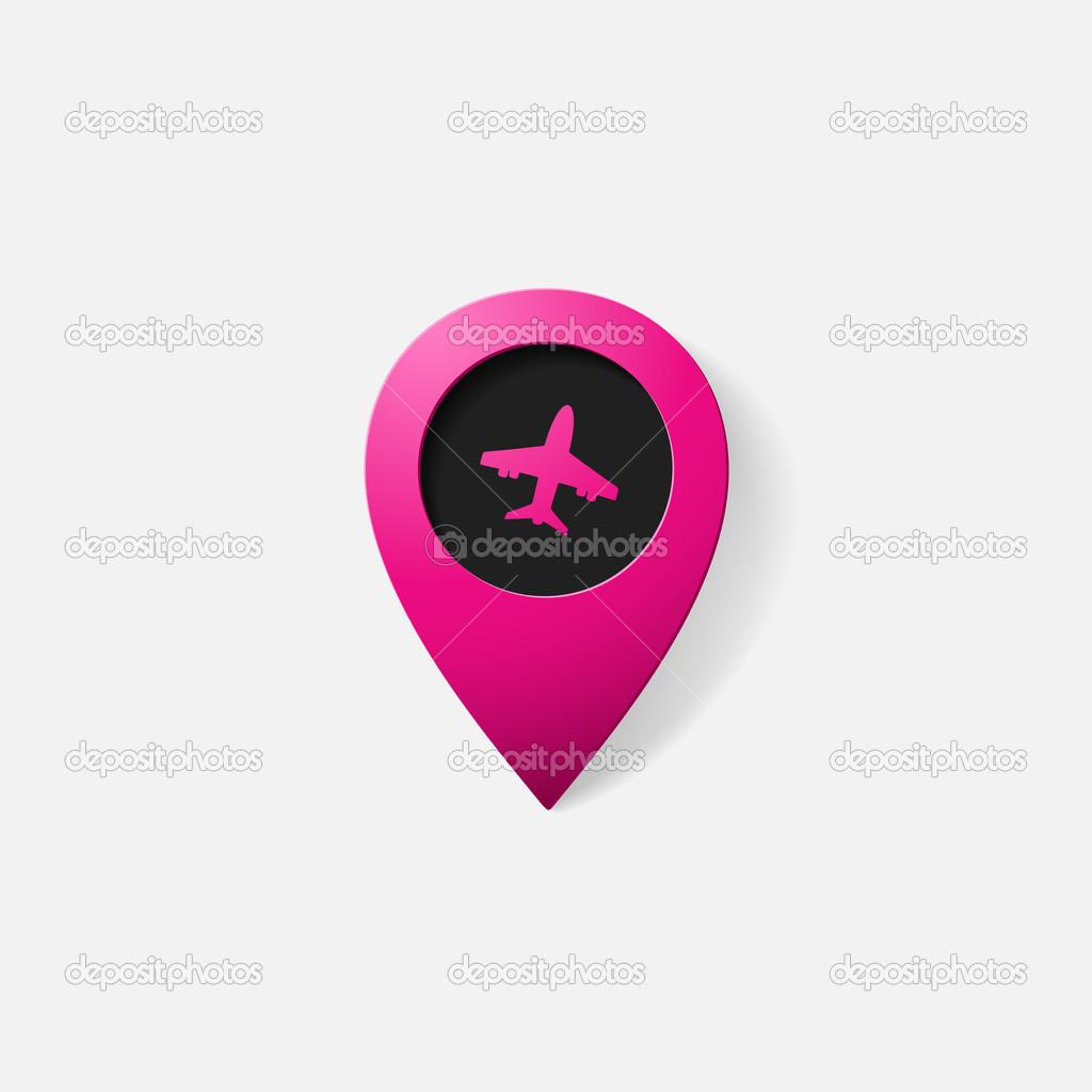 puntero color realista: avión — Vector de stock © Chorniy10 #42965131