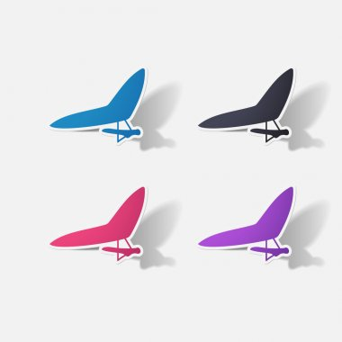 Paper clipped sticker: hang-glider