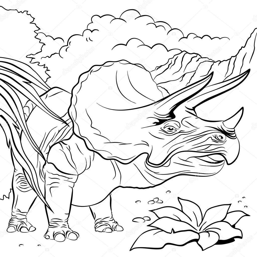 ぬりえブック , イラストのトリケラトプス恐竜 \u2014 ストックベクタ