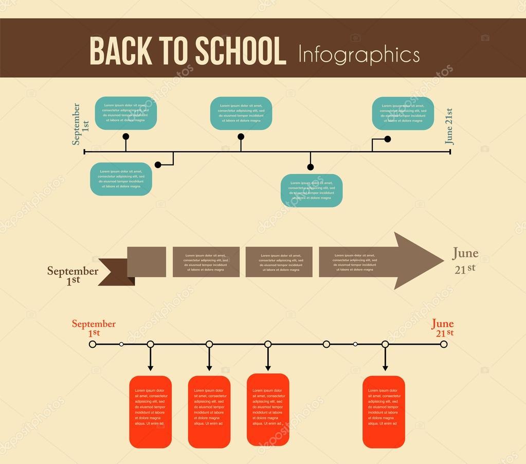 zurück zu Schule Infografiken. Bildung Jahr timeline — Stockvektor ...