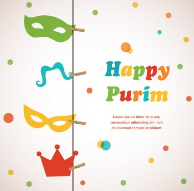 Jewish holiday Purim set. Vector illustration. Happy Purim.