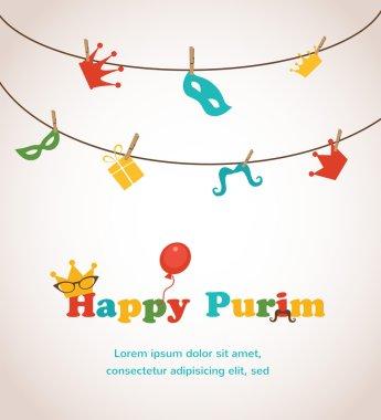 Jewish holiday Purim greeting card design