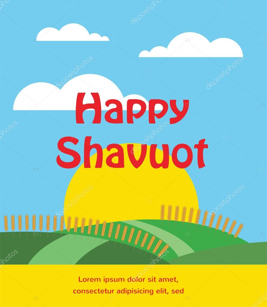 summer or spring scene with wheat field. Shavuot card