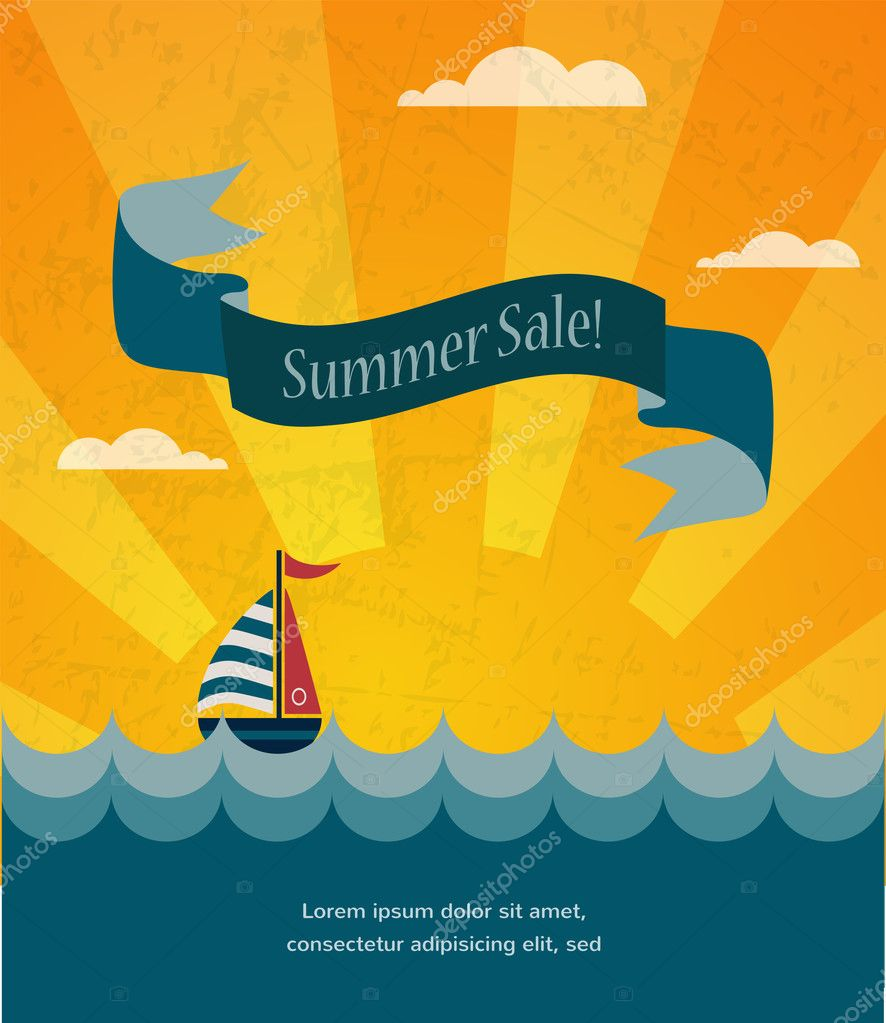retro summer sale poster, infographic illustration
