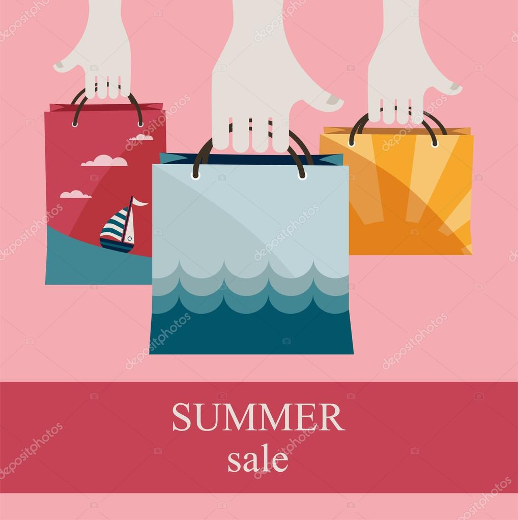 hands holding shopping bags to promote sales. summer sale