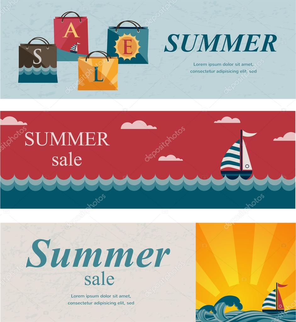 Three summer sale banners.