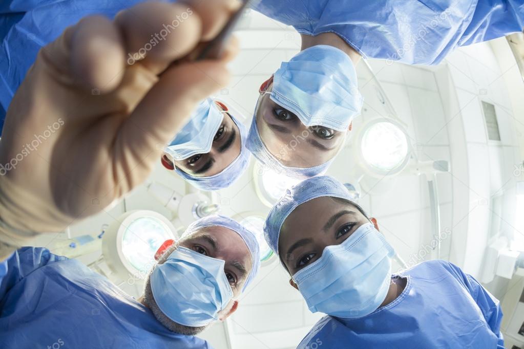 Team Doctors Surgeons Operating Theater Fisheye