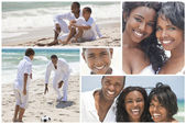 Fotografie African American Family Montage Outside Beach Summer