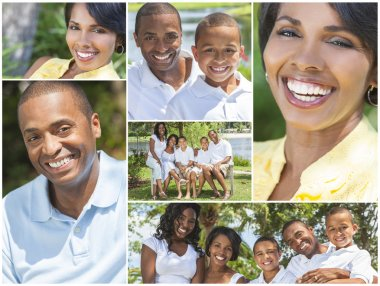Happy African American Family Outside Montage