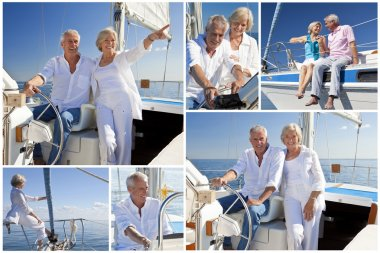 Montage of Senior Sailing on Luxury Yacht