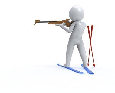 Biathlon. 3D man fires a gun at a target
