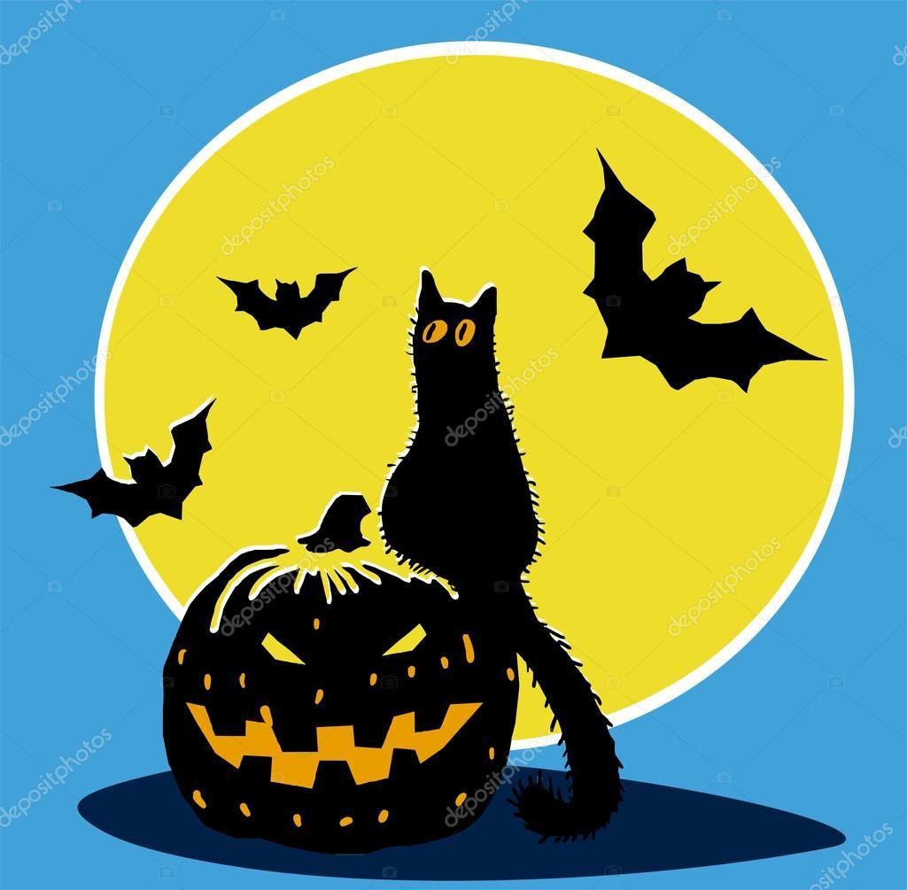 Zucca Halloween Gatto.Zucca Di Halloween Gatto Nero Pipistrelli E Luna Vettoriali