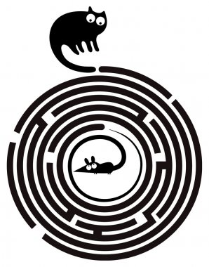 Funny cat and mouse in round maze