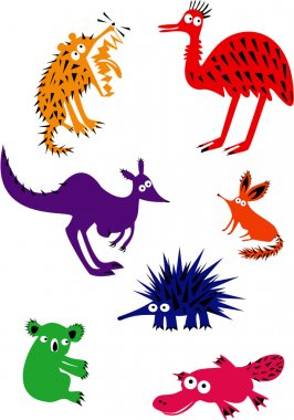 Set of Funny Australian Animals