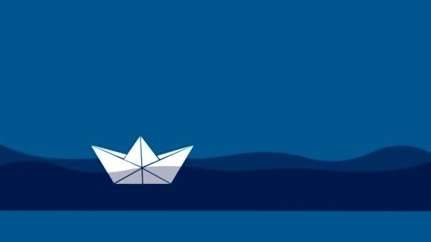 Origami papírových lodiček plave ve vodě