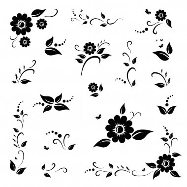 Vector set of black flowers and leaves. EPS 10