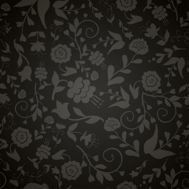 Seamless vintage pattern with gray flowers on a black background