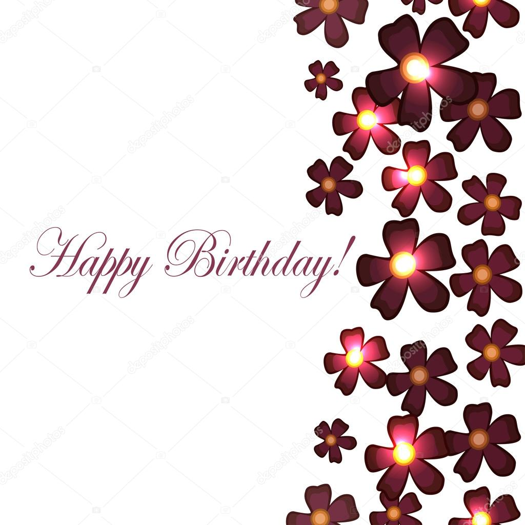 Vector Card With Birthday Flowers With Burgundy Stock Vector