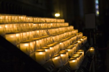 Church candles in Notre Dame de Paris