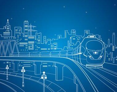 Neon train, vector lines train on the bridge
