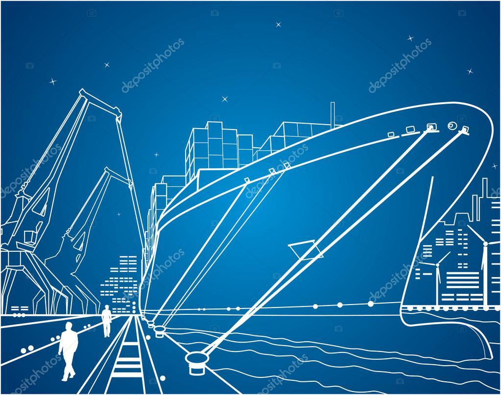 Neon seaport, vector lines port