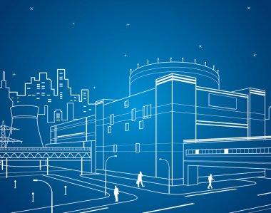 Neon power plant, vector lines factory