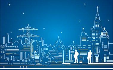 Neon line city, night vector town